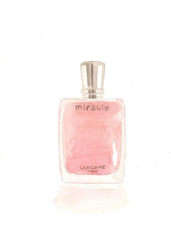 Lancome Miracle Parfum Eau de Parfum Fragrance  - Watercolor Perfume bottle illustration