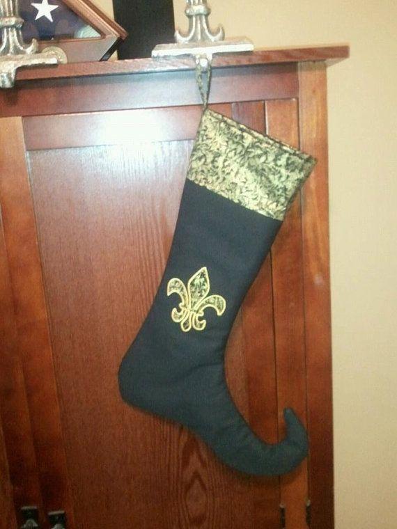 Saints Fleur de Lis Christmas Stocking by natashablanco on Etsy, $25.00