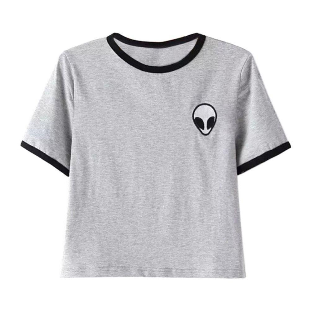 3D Print Aliens Crop Top Kurzarm T Shirt Frauen T-shirt Jugendliche ...
