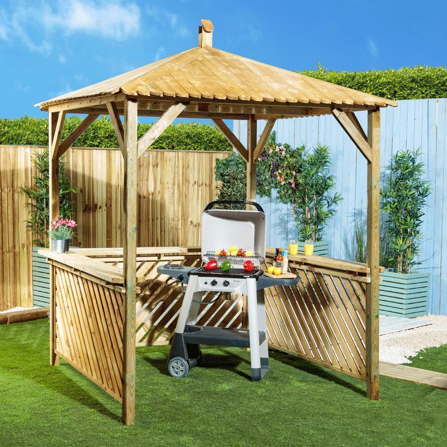 Garden Gazebo Outdoor Dining Area Wooden Natural Colour Shelf Patio Furniture Patio Outdoor Dining Area Garden Gazebo