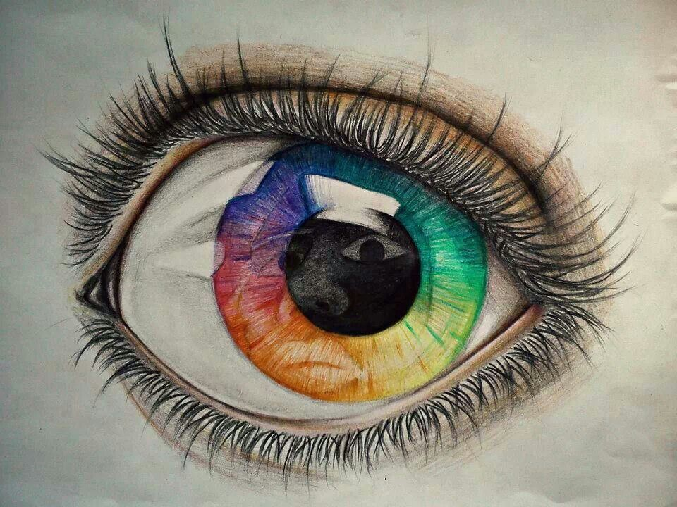 Rainbow Eye Colored Pencil Drawing Eye Drawing Human Eye Drawing Realistic Eye Drawing