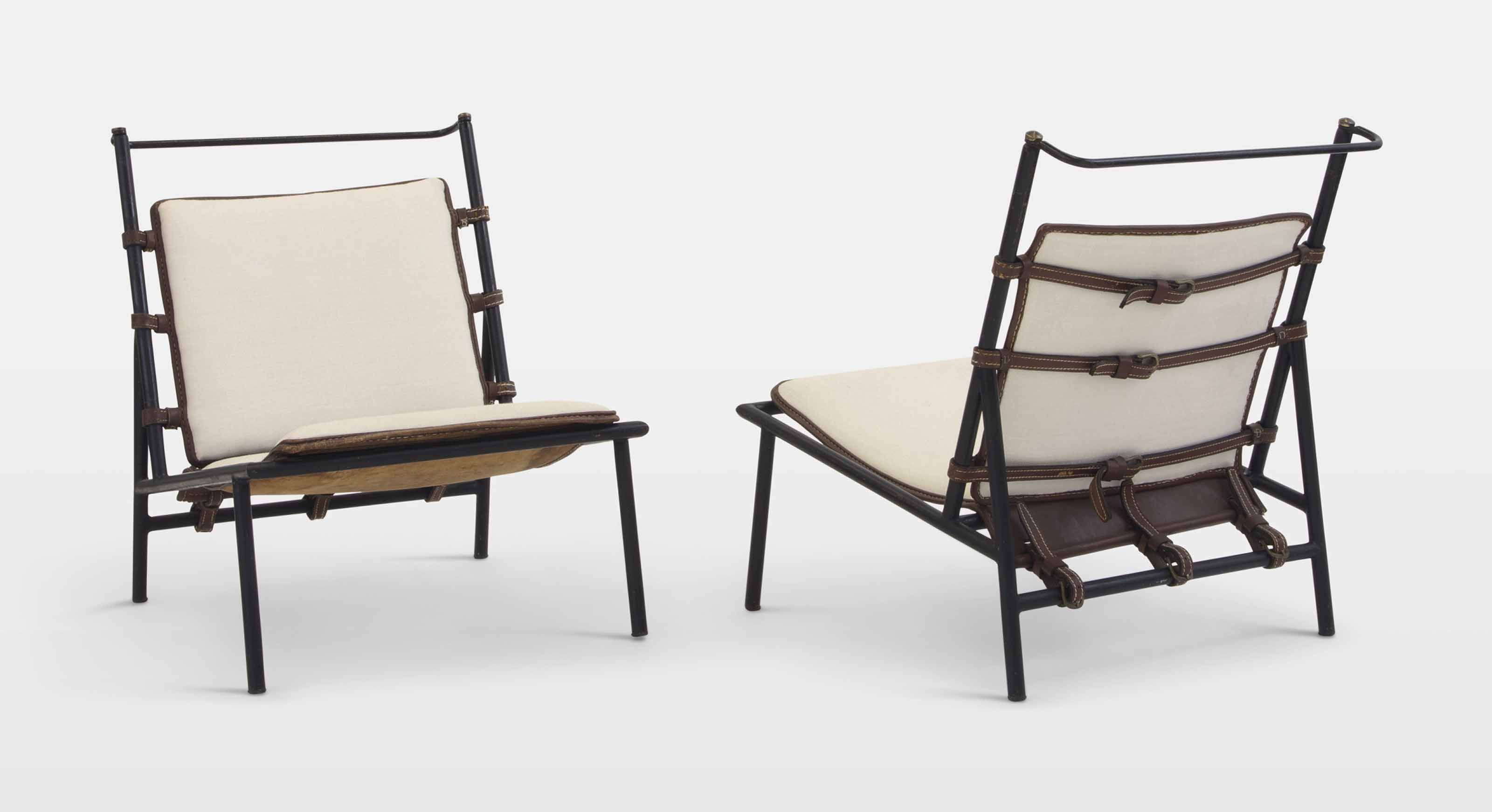 Jacques Adnet A Pair Of Lounge Chairs Circa 1950