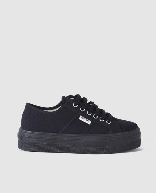 nuevo producto faf3c 174fe Zapatillas de lona de mujer Victoria de color negro con ...