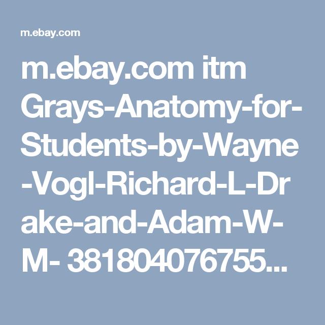 Mebay Itm Grays Anatomy For Students By Wayne Vogl Richard L