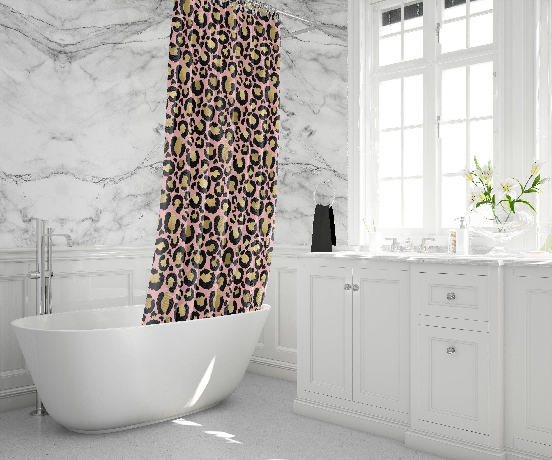 Pink Gold Leopard Print Custom Fabric Shower Curtain Animal Print Bath Curtain Extra Fabric Shower Curtains Long Shower Curtains Curtains Geometric Pattern