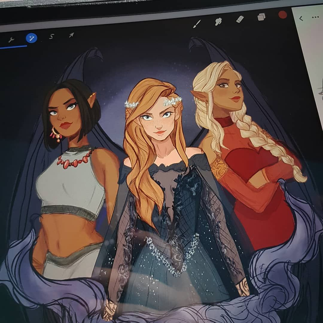 "Elena ☾? on Instagram: ""I recently finished reading the acotar series by Sarah J. Maas and just had to draw these girls 'cause I miss 'em so much ?"""