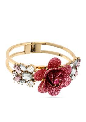 Betsey Johnson  Glitter Rose Hinged Bangle Bracelet