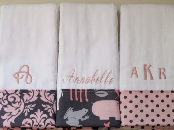 Personalized Monogrammed Burp Cloths  Baby Girl Set by chickamama, $24.00
