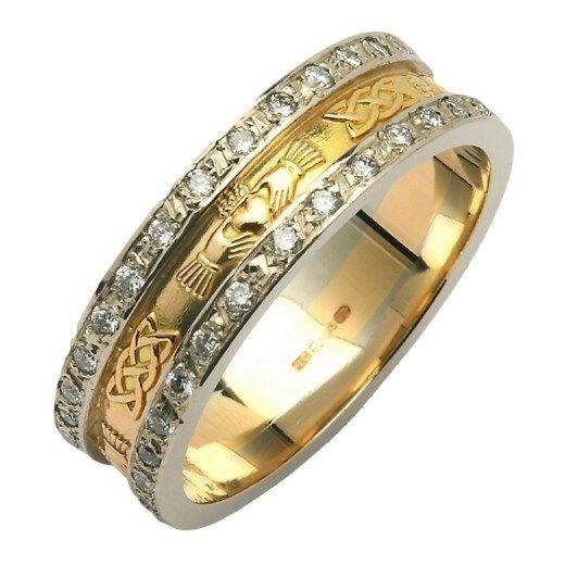 Claddagh Celtic Knot Diamond Pav Wedding Band Claddagh Wedding