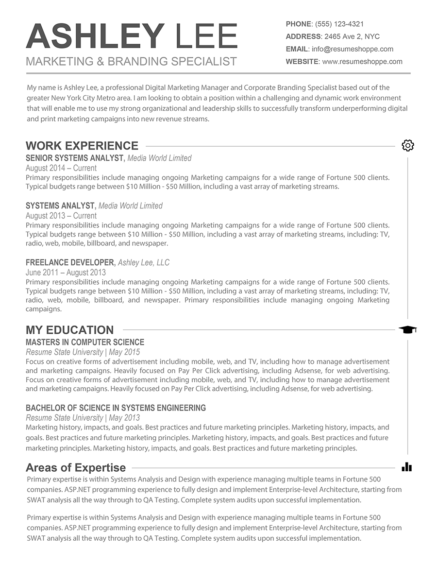 The Ashley Resume Creative Resume for Mac and Word Microsoft