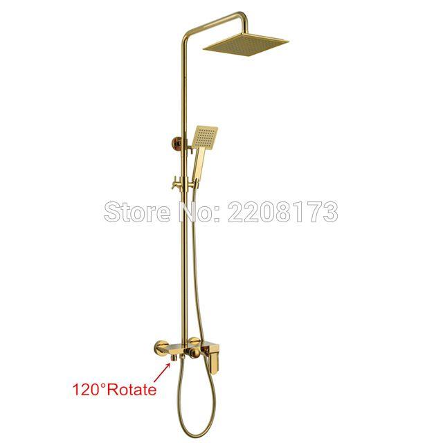 Smesiteli New Life Luxury Bathroom 10 Inch Abs Waterfall Rain Shower Head Brass Gold Black Chrome Exposed Shower Faucet Set Shower Faucet Sets Rain Shower Head Shower Faucet