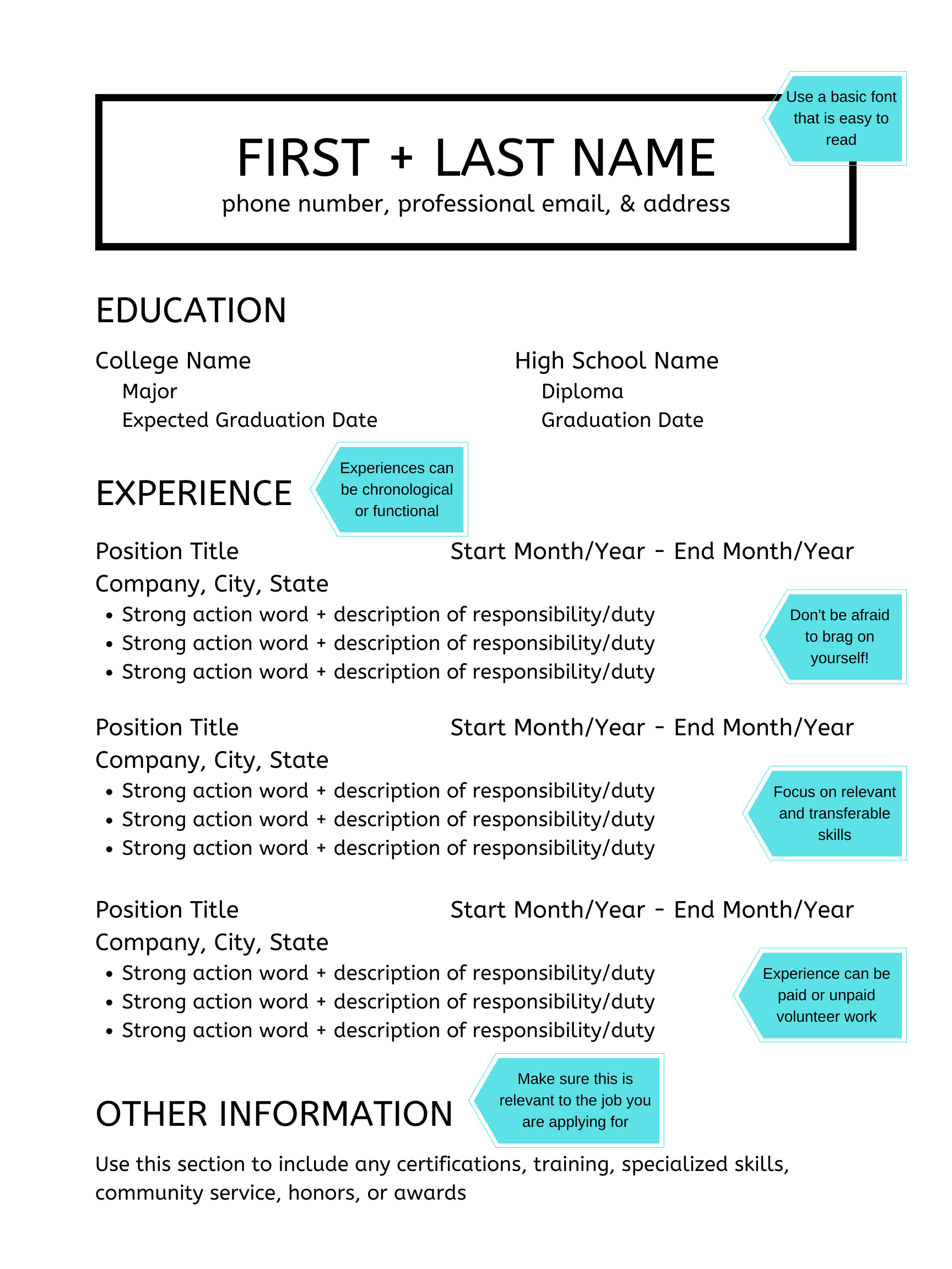 Resume Example Education college, College names, Action