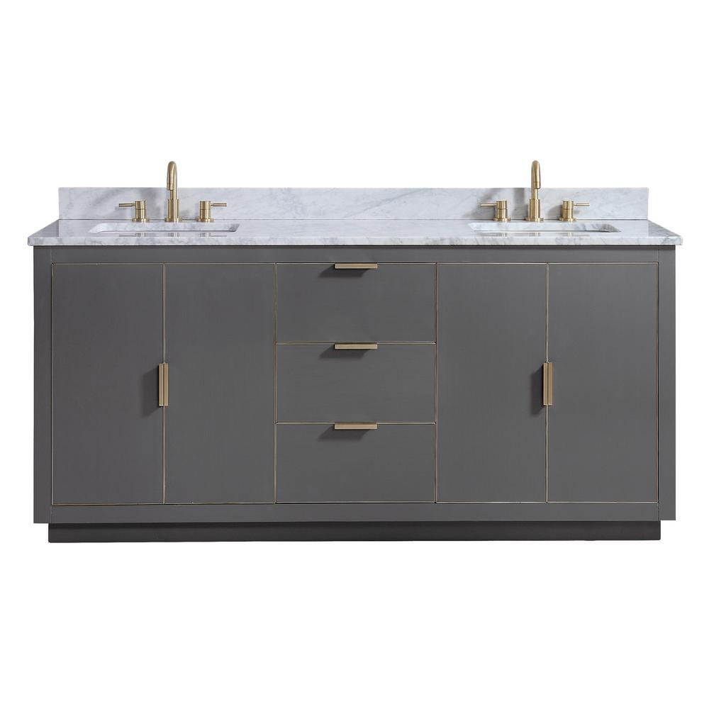 Avanity Austen 73 In W X 22 In D Bath Vanity In Gray With Gold