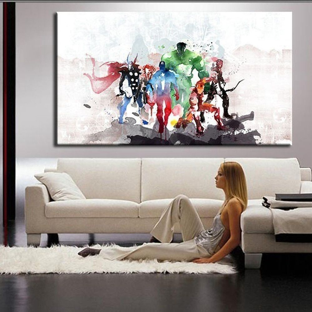 Avenger Alliance Movie Posters And Prints Watercolor Abstract Wall Art Canvas Paintings Home Living Room Murals Living Room Art Painting Modern Canvas Art Wall Canvas Painting