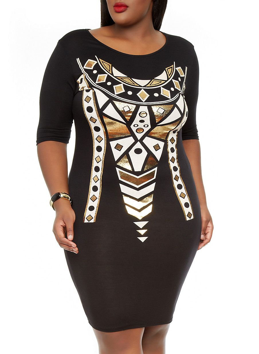 Rainbow Shops Plus Size Black and Gold Foil Bodycon Dress ...