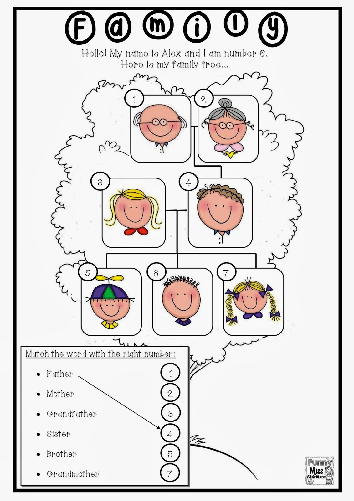 small resolution of Enchanting Worksheets On Family For Grade 1 For Funny Miss Valà  Family  worksheet