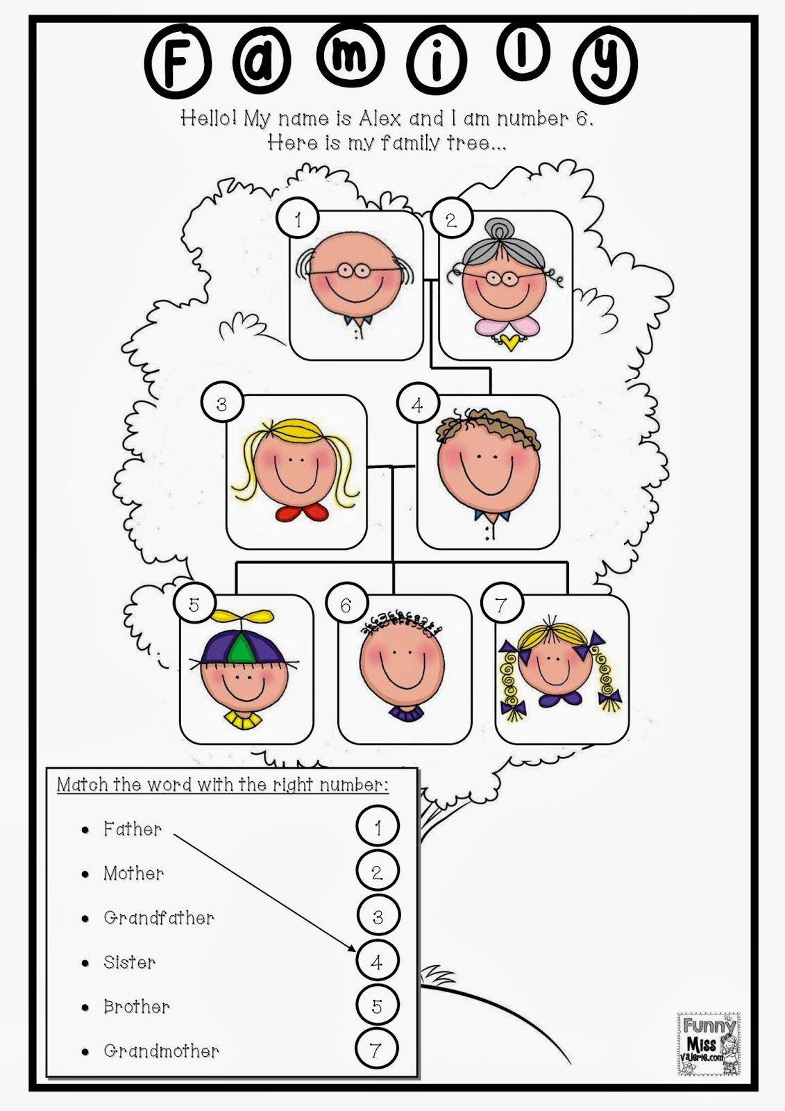 Enchanting Worksheets On Family For Grade 1 For Funny Miss Valà  Family  worksheet [ 1600 x 1131 Pixel ]