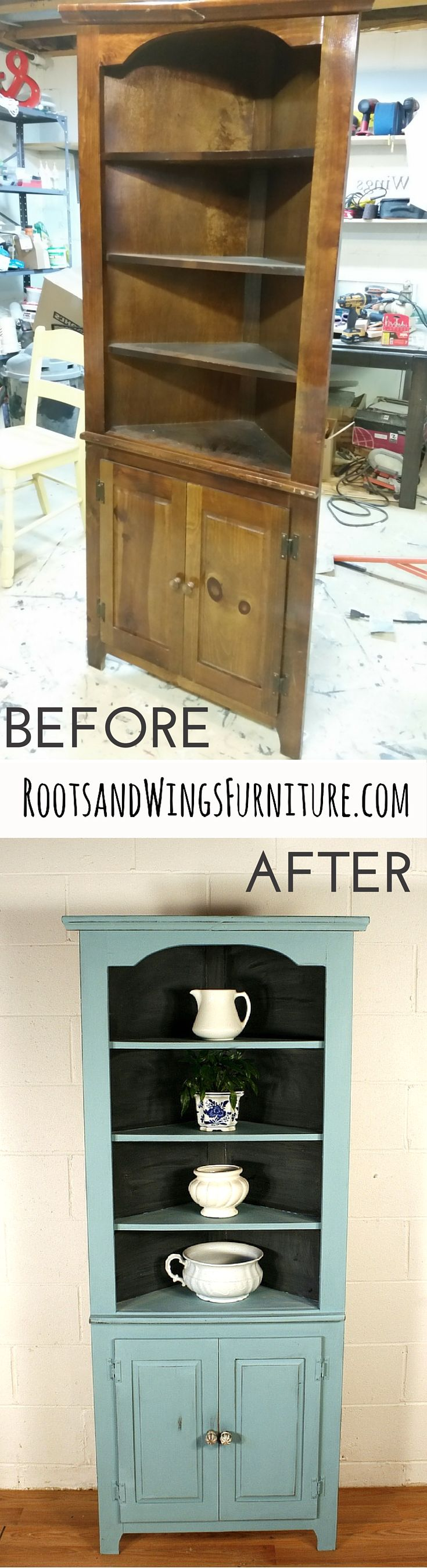 Before And After Of A Corner Hutch Refinished In Provence Chalk Paint And  Sealed With Flat Out Flat Topcoat. Back Painted In Chalkboard Paint.