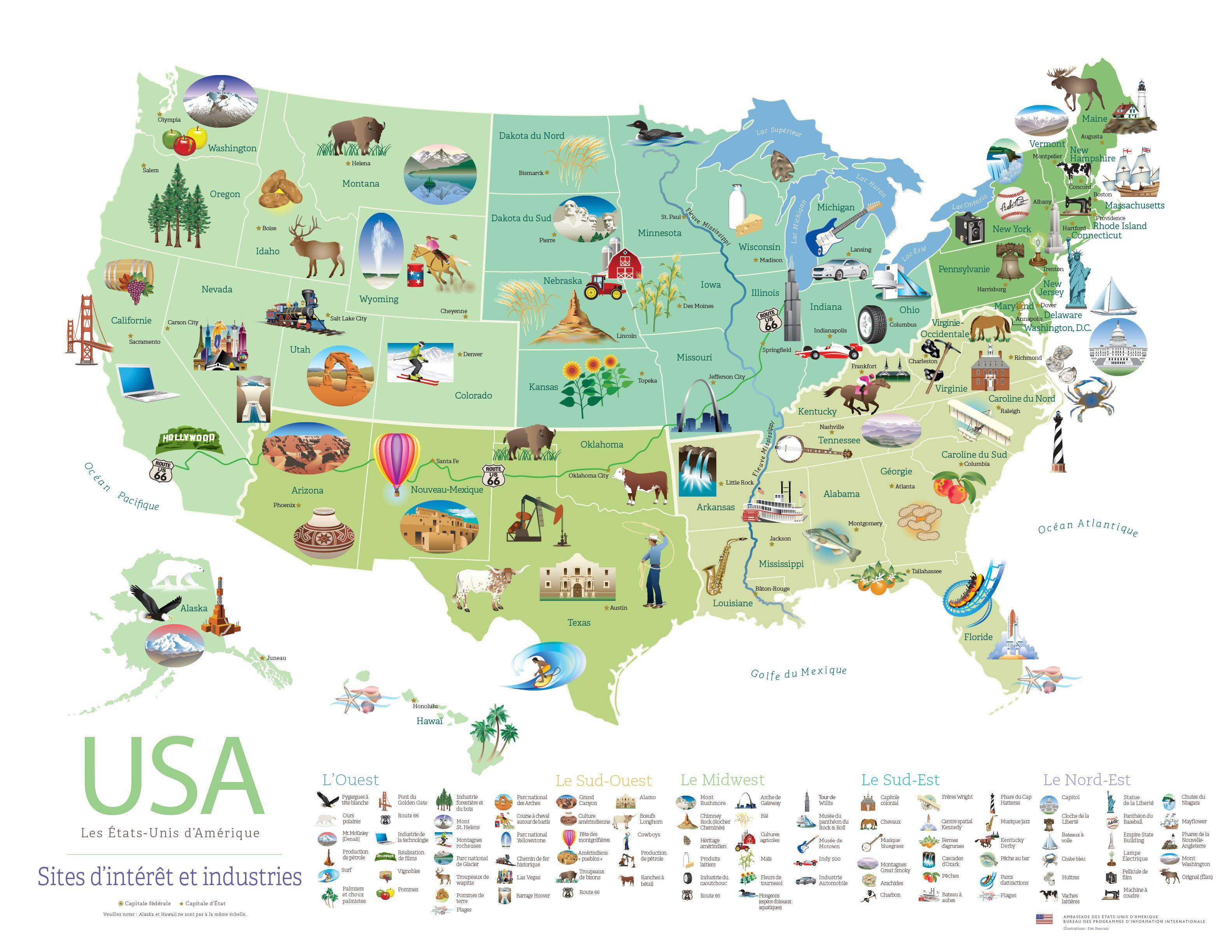 Voici Un Poster Gratuit De Sites Et De Produits Des Etats Unis