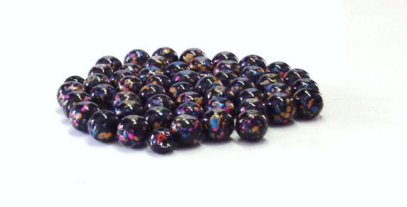 Round Black Glass Beads with Colorful Splatters by BeadsFromHaven, $2.00