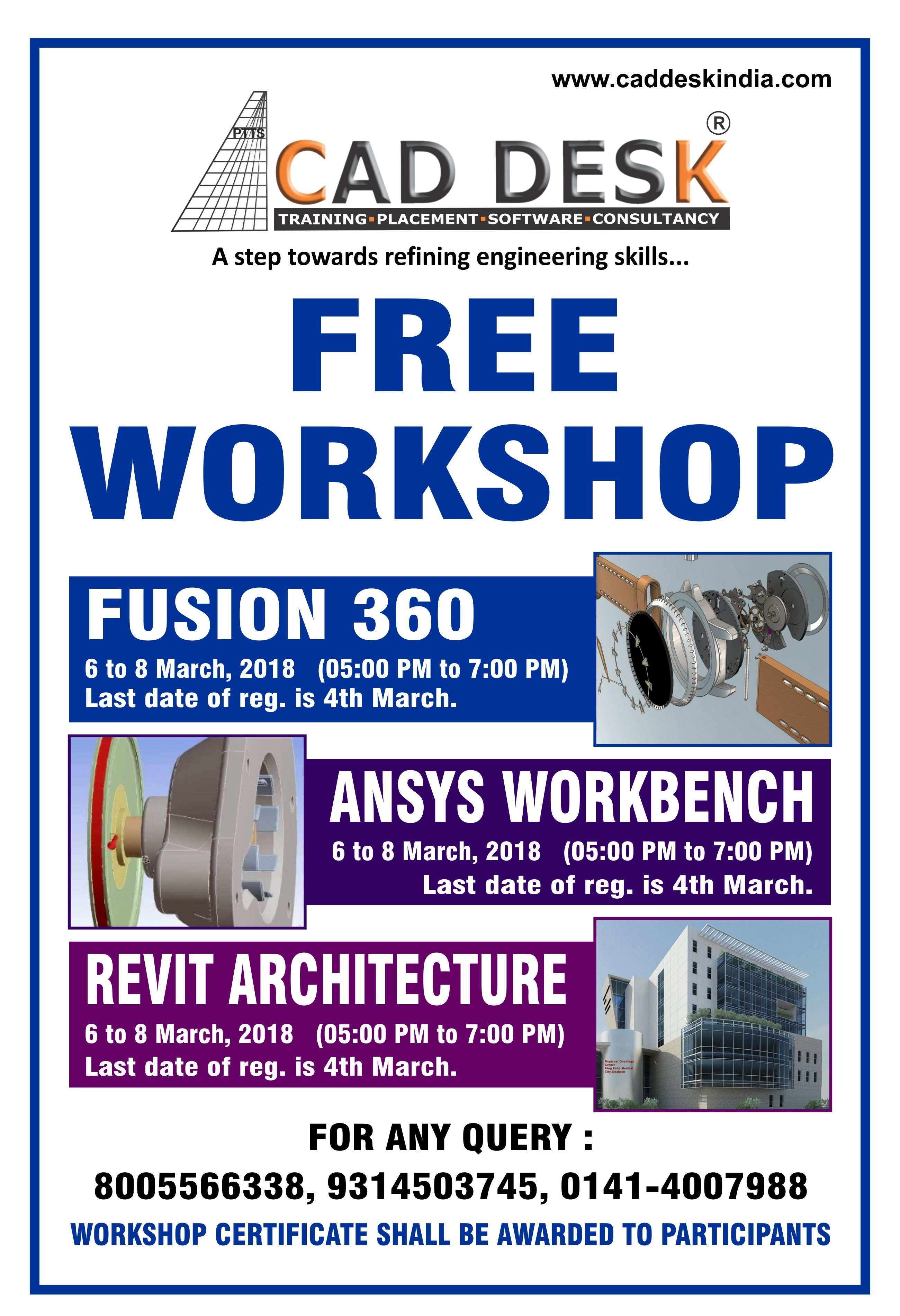 Cad Desk is going to conduct a Free Workshop on Fusion 360