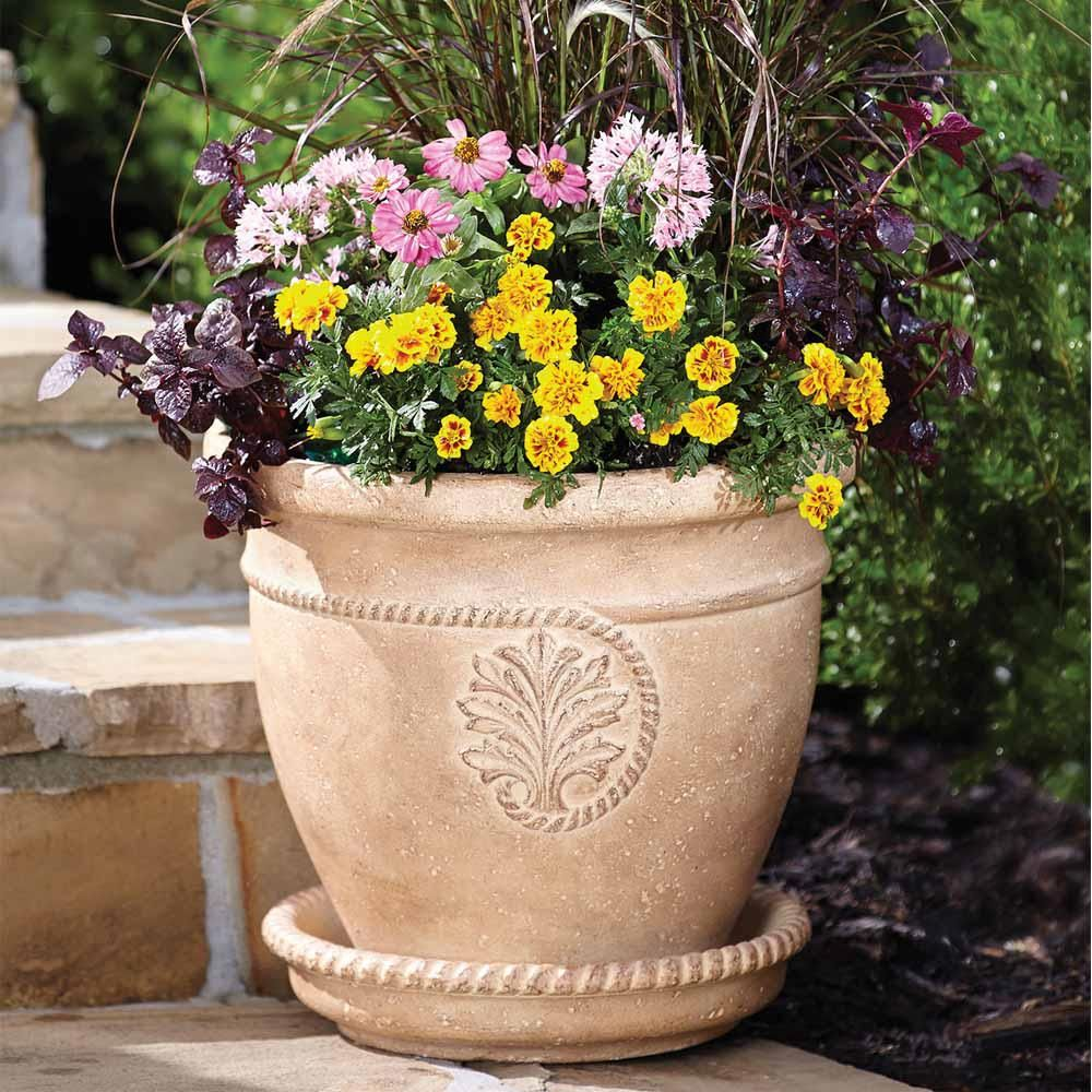 Null 16 in dia ivory cameo cast stone pot cast stone garden pots dia ivory cameo cast stone pot ps6276ai the home depot workwithnaturefo