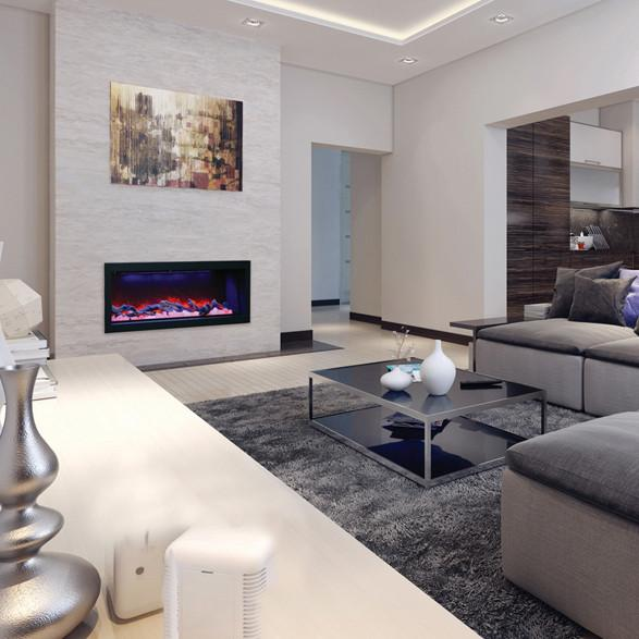 Fake Fireplace Tropical Bathroom Mirrors And Modern: Amantii Panorama Built-in Deep 50 Inch Electric Fireplace