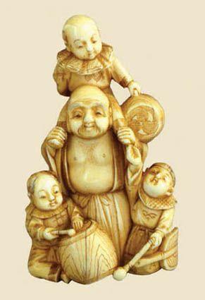 Japanese netsuke god of luck hotei |