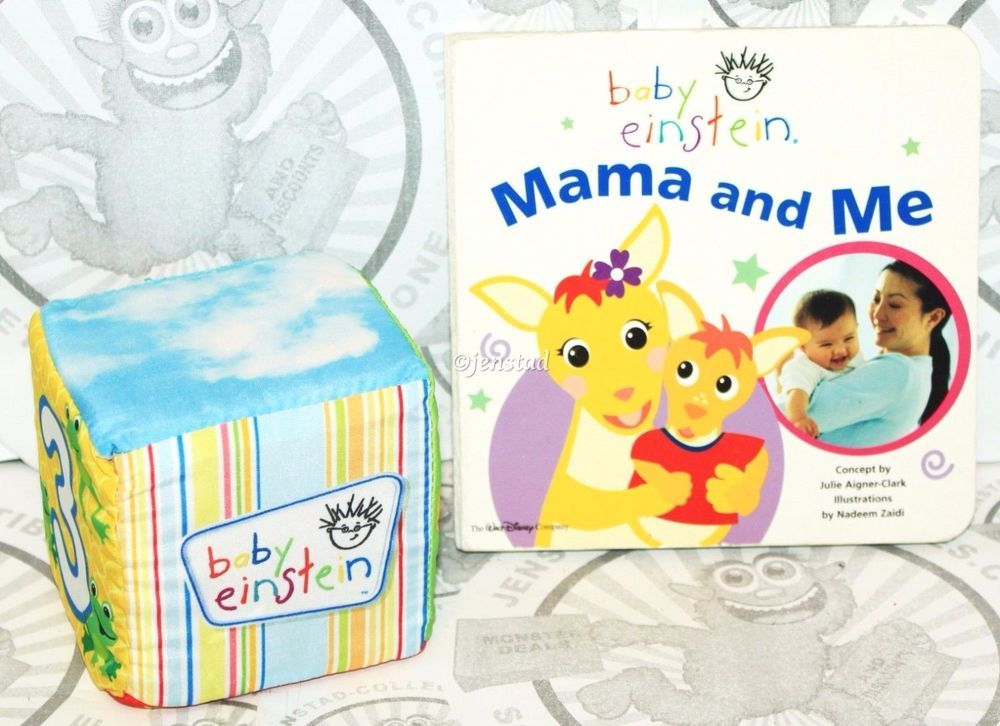 2 LOT DISNEY BABY EINSTEIN EXPLORE & DISCOVER SOFT BLOCK TOY & BOARD BOOK CLEAN #BabyEinstein