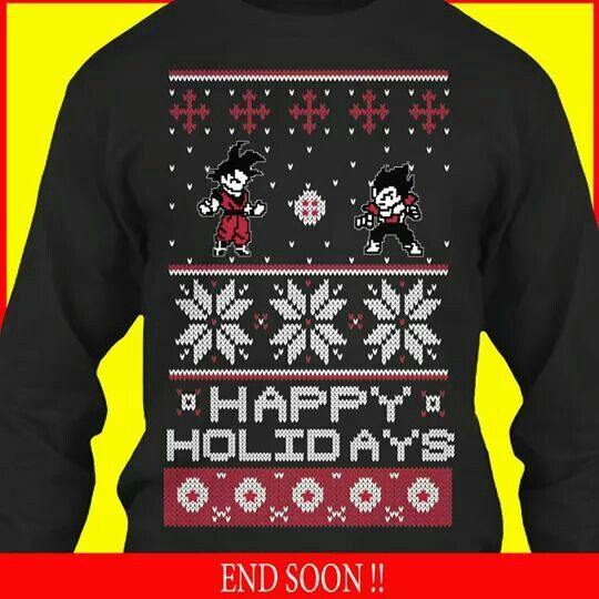 69e0dbafa773 Dragonball Z Christmas sweater featuring Goku and Vegeta. I must have it!