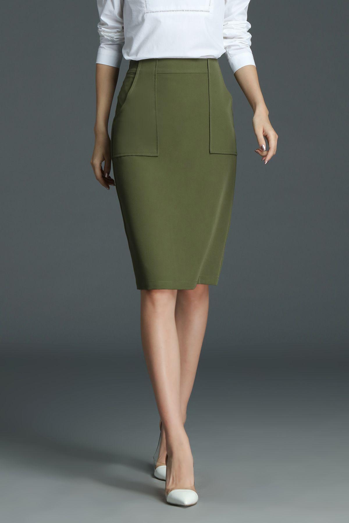 8b6856263 ROEYSHOUSE Knee Length Work Pencil Skirt | SKIRT | Fashion, Green ...