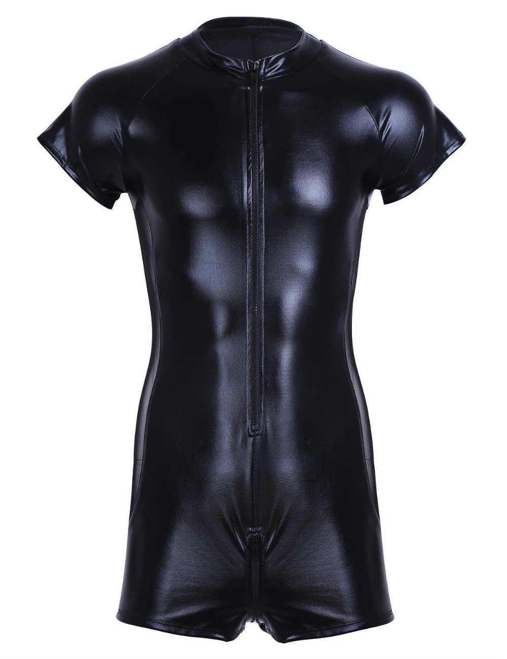Men Faux Leather Bodysuit Leotard Wet Look Stretch Swimsuit Bikini Tank Top Club
