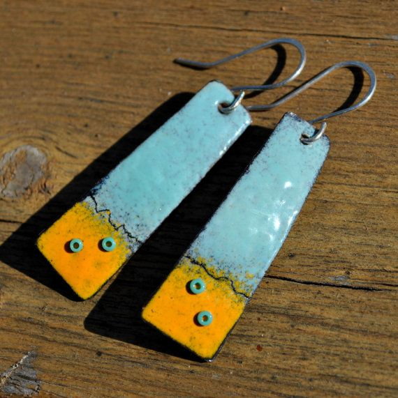 Torch Fired Enamel Earrings Turquoise And Gold With Glass Etsy Enameling Jewelry Torch Fired Enamel Jewelry Enamel Jewelry