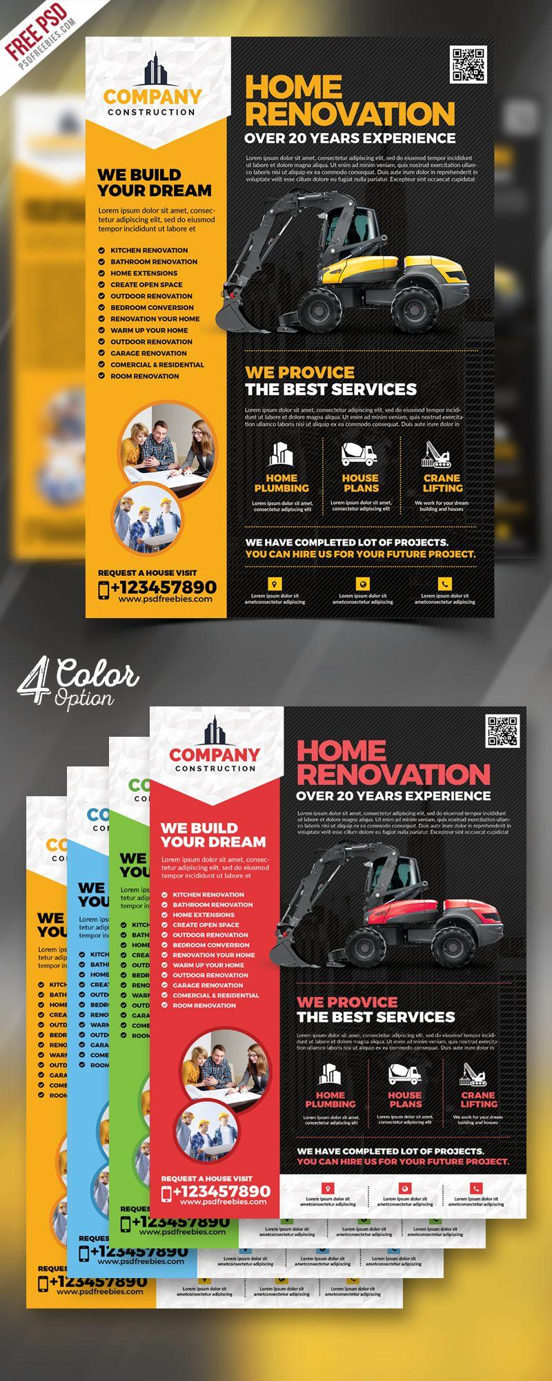 Construction company flyer free psd bundle psdfreebies