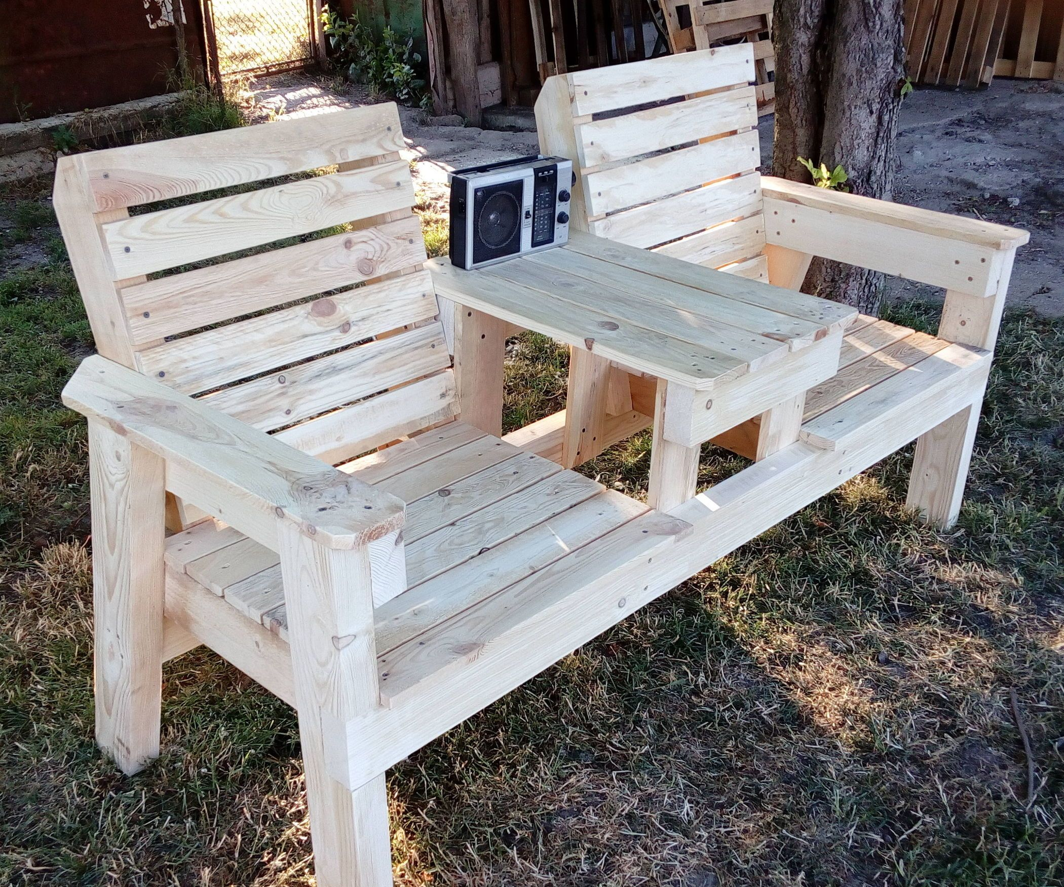 Double Chair Bench With Table Outdoor Furniture Chairs Pallet Furniture Outdoor Wood Bench Outdoor