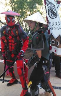 Ninja Deadpool and Monster Hunter. Cosplay Costume. Comic Con.