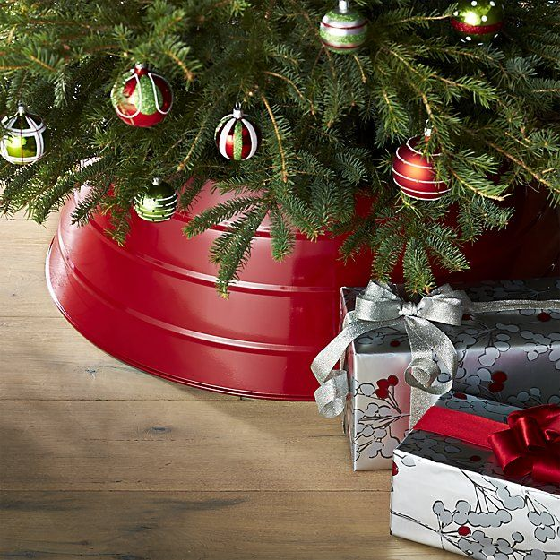 Glossy Red Tree Collar | Crate and Barrel - nice idea instead of a ...