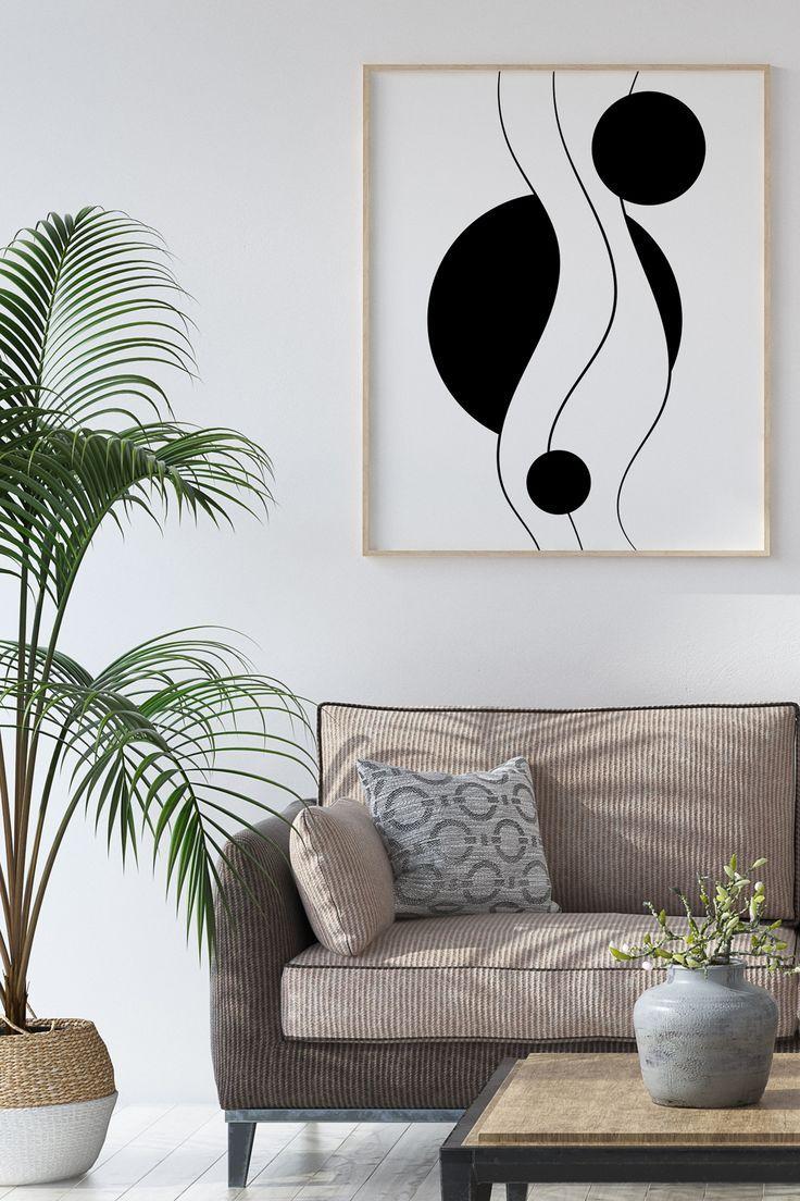 Minimalist Abstract Geometric Wall Art Print in black and ...