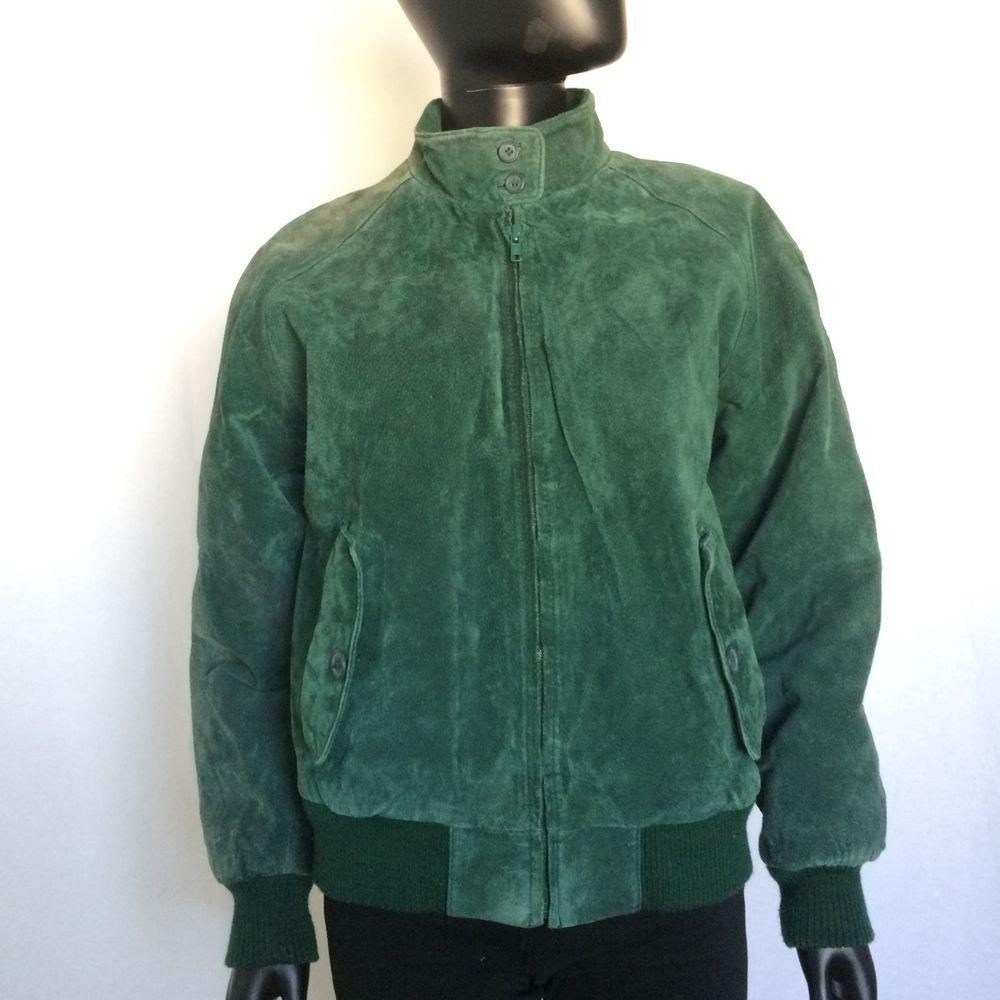 Rock Creek Womens Genuine Leather Green Bomber Flight Jacket Size Small VTG  S #RockCreek #LeatherJacket