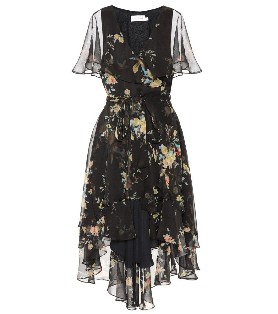 Zimmermann Fl Printed Silk Dress