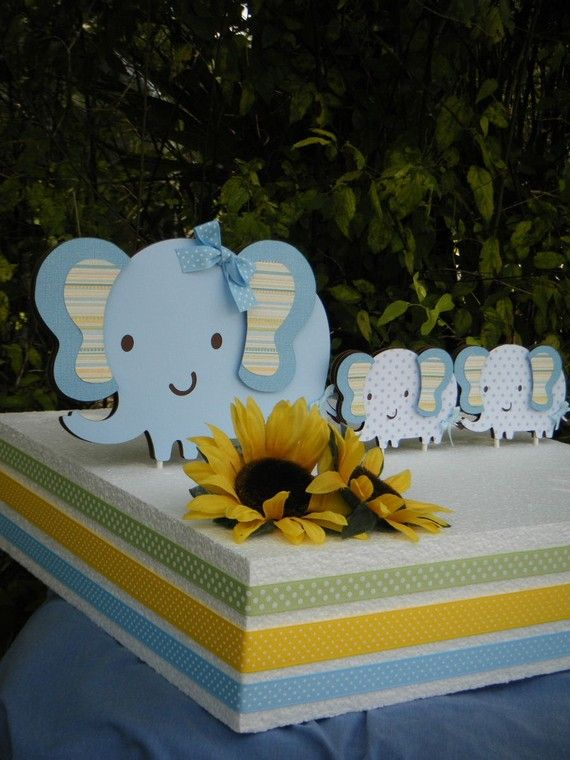 Elephant CAKE TOPPER SET with  Mommy and Twin by PartyHoppers, $18.00