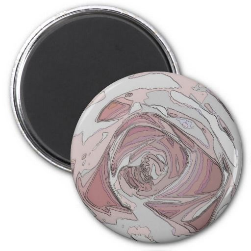 arty pink rose fridge magnet