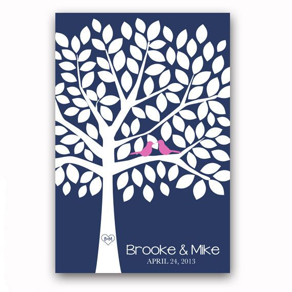 Wedding Guest Book Tree Unique Alternative Navy And Pink With 100 Leaves