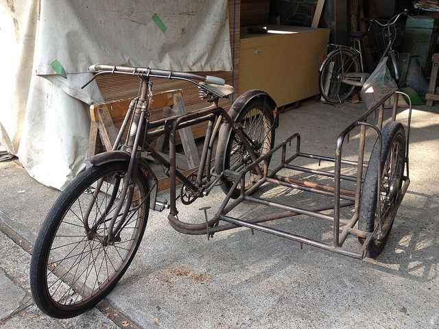Old Japanese Utility Bicycle Sidecar Bicycle Sidecar Bicycle
