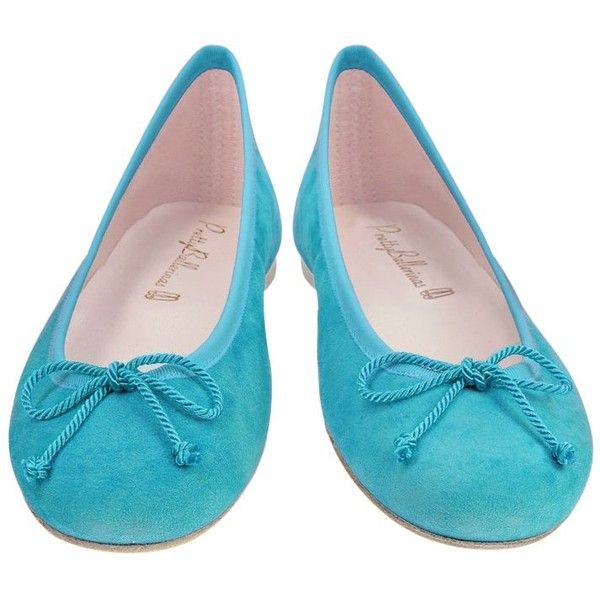 Pretty Ballerinas Turquoise Suede Ballerina Shoes (€97) ❤ liked on Polyvore featuring shoes, flats, zapatos, ballet flats, bow tie flats, ballerina shoes, bow ballet flats and ballerina pumps