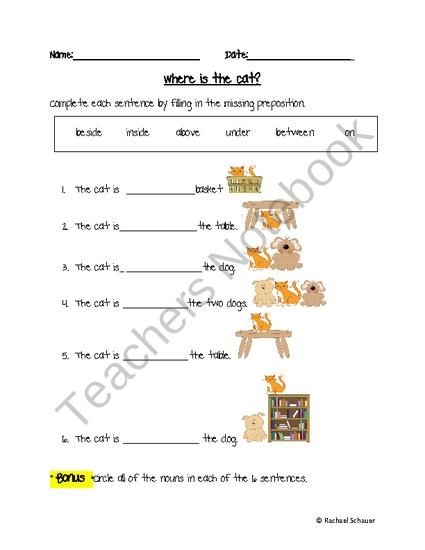 Preposition In Learn In Marathi All Complate: Preposition Worksheet Freebie Product From Mindful Rambles