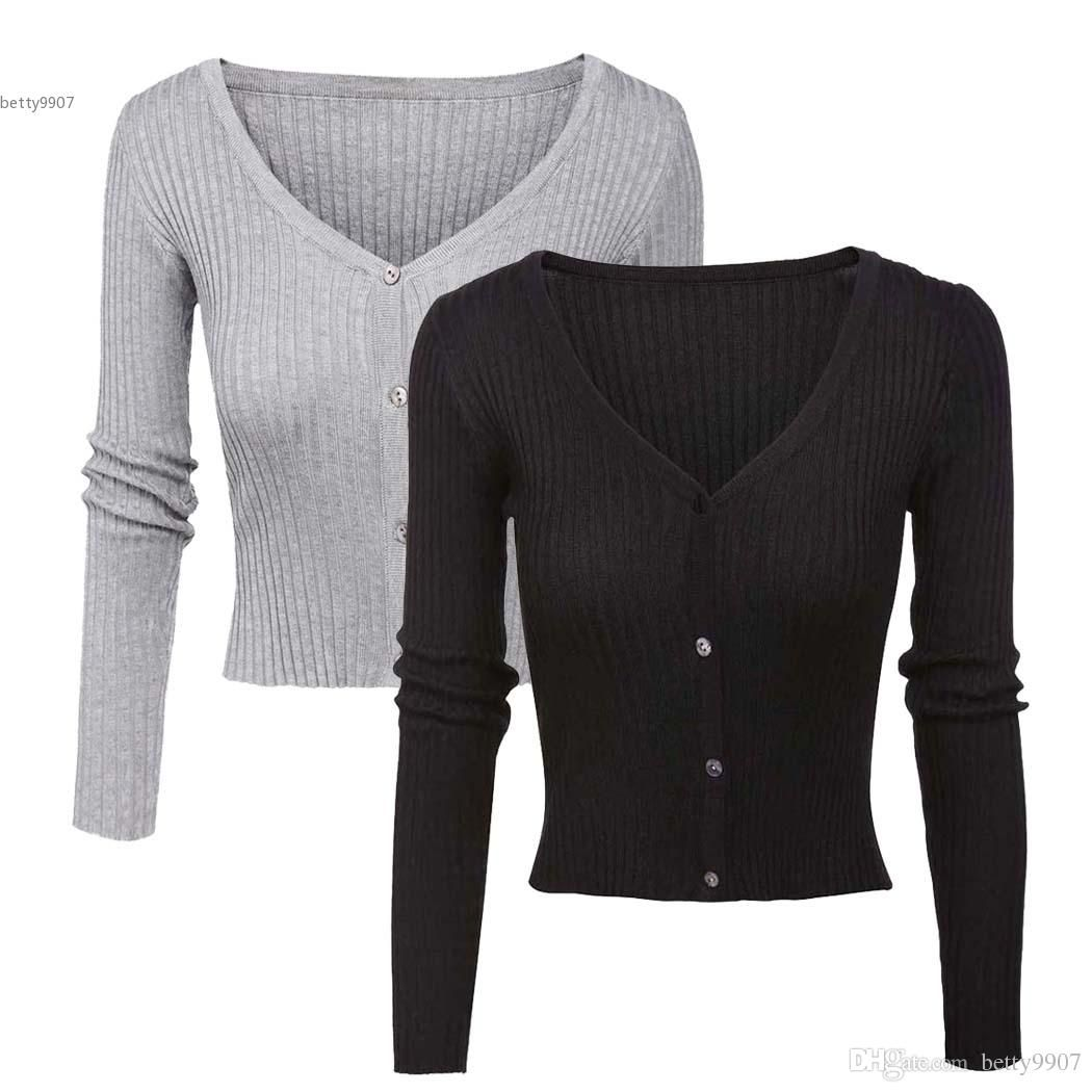 Fashion Women's Solid Slim Fit Button-Up Cardigan Sweater With ...