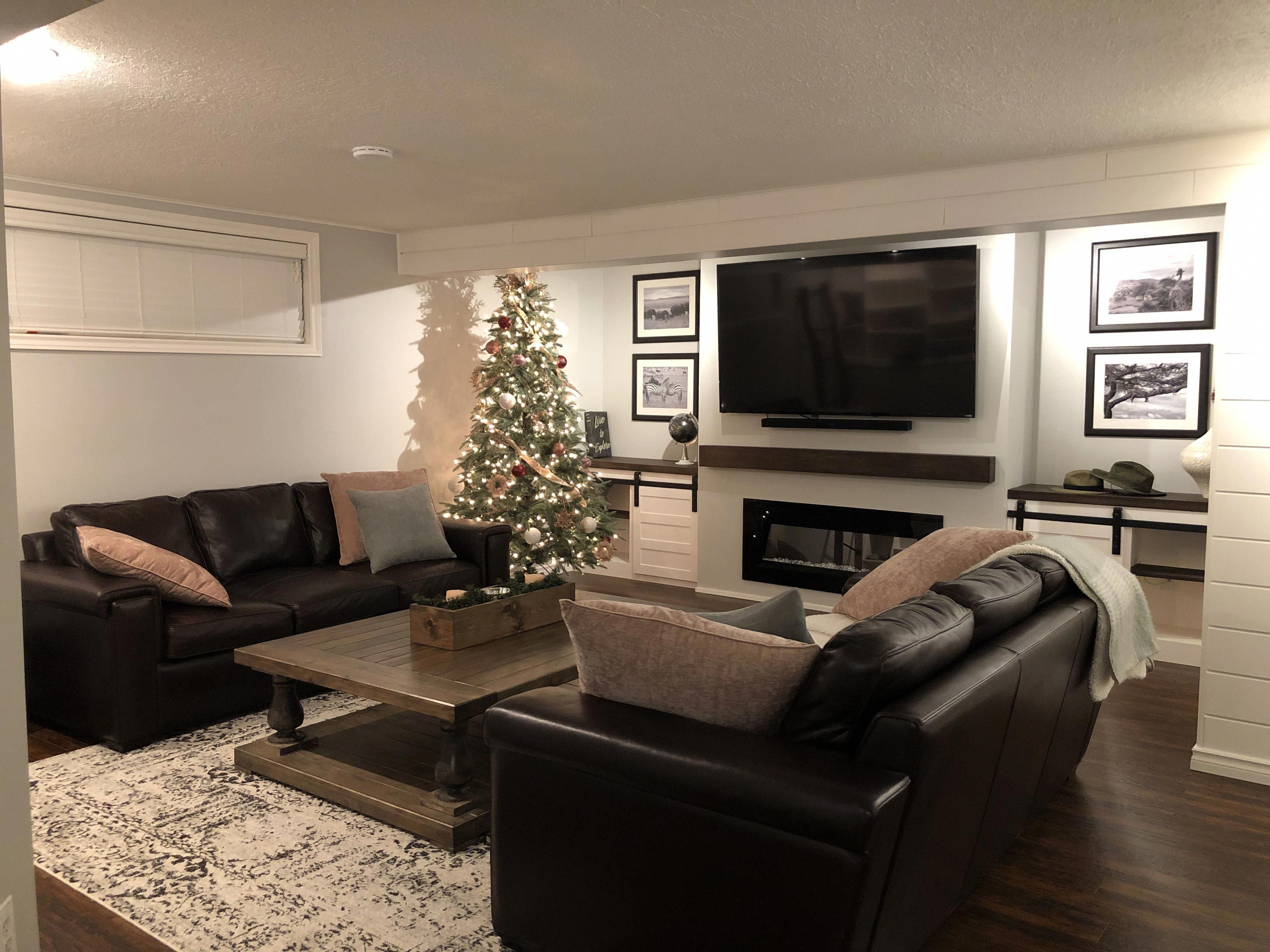 Diy Finished Basement By Zavywoodworks Dark Brown Flooring Grey Walls Maple Wood Features Brown Living Room Decor Brown Living Room Diy Finish Basement