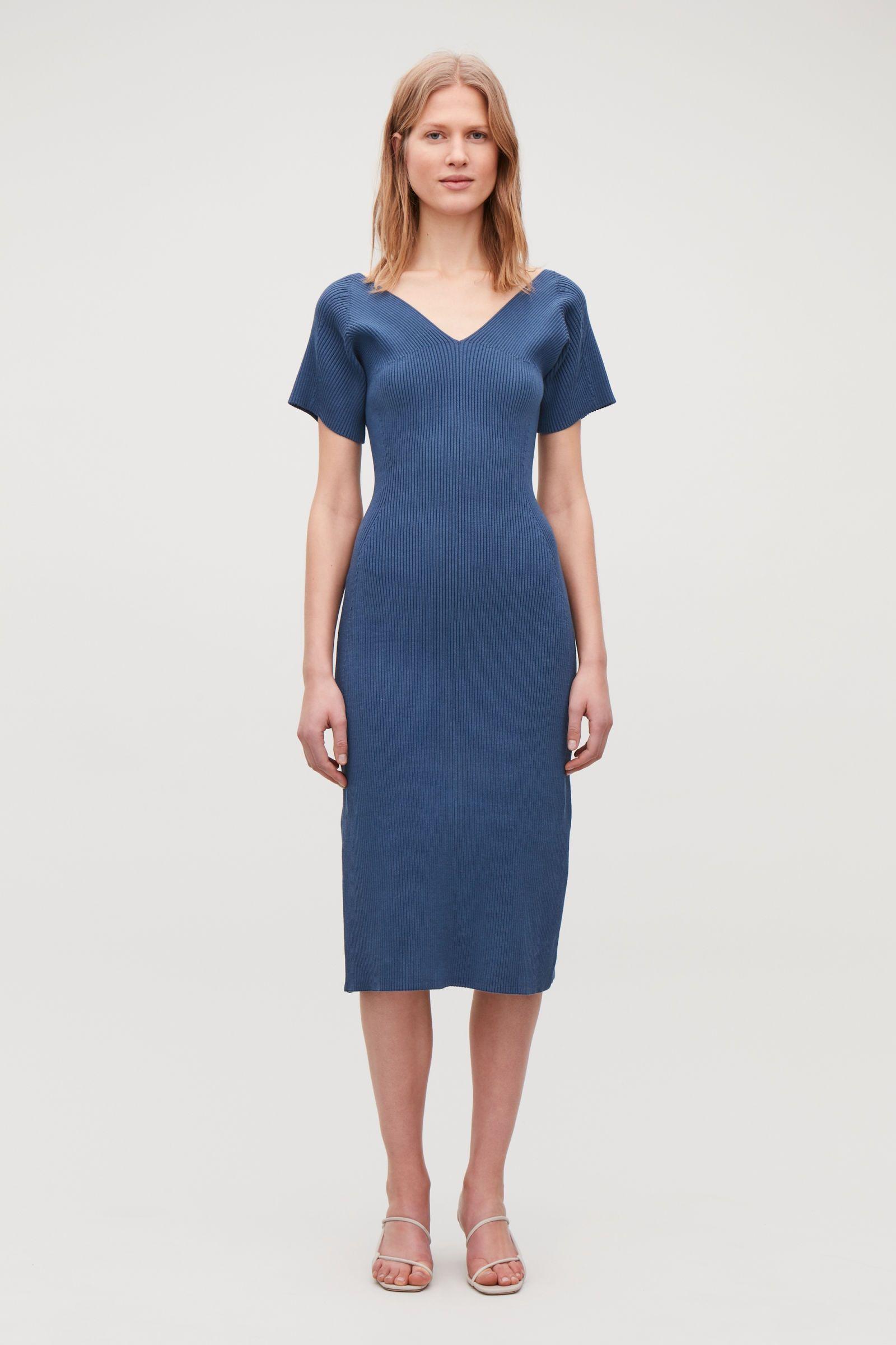 44d0caeeb497d RIBBED COTTON-KNIT V-NECK DRESS - Steel blue - Dresses - COS | SS 19 ...