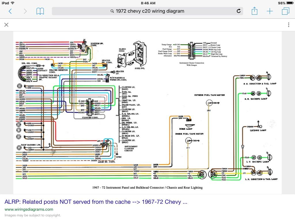 1972 Chevy Pickup Instrument Panel Wiring Diagram Electrical Chevrolet C10 C20 Diagrams Schematics 72 Alternator